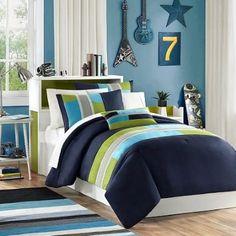 Amazon.com: Navy, Teal, Light Green Boys Twin Reversible Comforter and Sham Set Plus BONUS PILLOW: Home & Kitchen