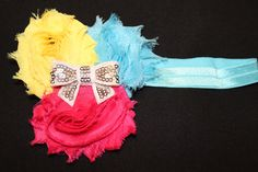 Shabby Chic Infant Headband (Hot pink/Turquoise/Yellow) by CadisClosetInc on Etsy