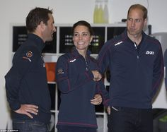 The Duchess flashes a smile as she and her husband Prince William chat to Sir Ben Ainslie in the BAR headquarters