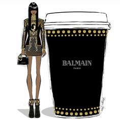 Giant gold studded Balmain coffee to go please ☕ Stylish illustration by Megan Hess