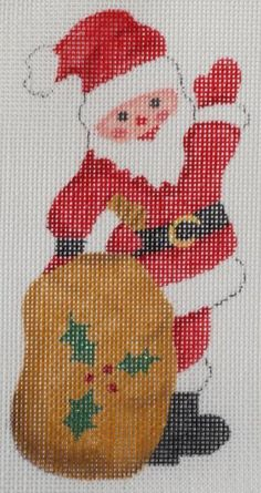 Kate Dickerson jolly waving Santa ornament