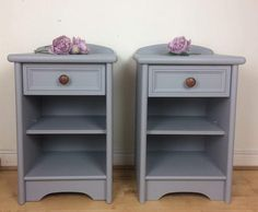 A Pair of Vintage Bedside Table / Cabinet, Side Table, Bedside Unit Hand Painted Grey Fusion Mineral Paint Nightstands Upcycled by on Etsy Upcycle Bedside Table, Bedside Table Makeover, Painted Bedside Tables, Wooden Bedside Table, Side Table Lamps, Diy Nightstand, Nightstands, Refurbished Furniture, Repurposed Furniture