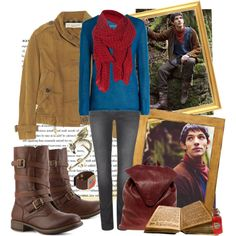 """emrys"" by sweatervests on Polyvore. outfit inspired by Merlin from the BBC show."