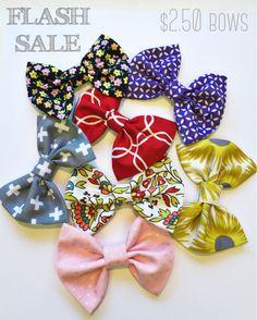 FLASH SALE $2.50 bows! www.turbansfortots.com