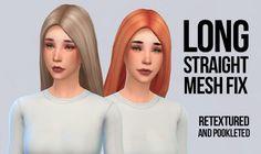Long straight hair mesh mix and recolors at Simserenity via Sims 4 Updates
