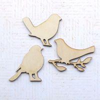 Wood Bit Shapettes - 3 Birds  -  Jane - Jessie - Josie -