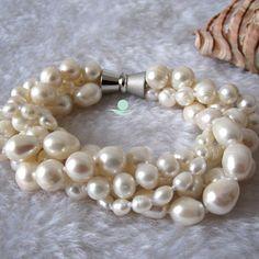 Perla Bracciale 78 pollici 410mm 4 riga bianca di Girlslovepearls