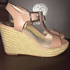 """VINCE CAMUTO nude wedge TINSELL heels Brand new in box and never worn! Size 8. Color is """"sandbar/natural."""" These are so cute for summer and retail well over $100! Sold out in stores! Style: """"TINSELL"""" Vince Camuto Shoes Wedges"""
