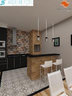 Churrasqueira Interior Design Living Room, Modern Interior, Bbq, Kitchen, Table, Nova, Decor Ideas, Furniture, Home Decor