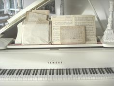 Piano, Living Room. White, Chippy, Shabby Chic, Whitewashed, Cottage, French Country, Rustic, Swedish decor Idea