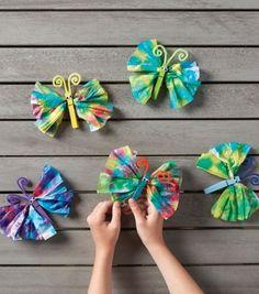How To Make Tie Dye Tissue Paper Butterflies Joann inside Tie Dye Paper Crafts. Paper Butterfly Crafts, Tissue Paper Crafts, Paper Butterflies, Diy Paper, Crafts For Seniors, Crafts For Teens, Easy Crafts, Diy And Crafts, Crafts For Kids