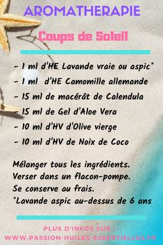 10 Remèdes naturels pour soulager un coup de soleil et une recette efficace aux huiles essentielles. Pour plus d'infos, lisez l'article. ;)  #aromathérapie #coupdesoleil #coupsdesoleil #huilesessentielles #DIY #recettenaturelle #remèdenaturel #essentialoils #aromatherapy #HE #EO #sunburn Gel Aloe, Coups, Medical, Healthy Food, Craft, Natural Treatments, Natural Remedies, Healthy Foods, Creative Crafts