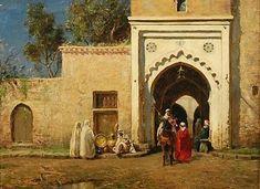 Algérie - Peintre Américain Addison Thomas Millar (1860 – 1913), huile sur toile , Titre : Dehors a l'extérieur de la façade d'entrée à Alger