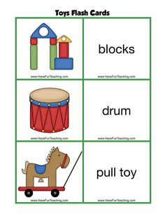 Free Toys Flash Cards. These toys flashcards are perfect for teaching and learning toys. Teach your kids about toys with these fun toy picture flash cards.