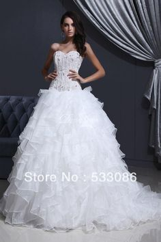 Cascading Ruffle Beading Appliques Petite Bodice Tulle Puffy Lace Organza Princess Strapless  Wedding Dress New Arrival