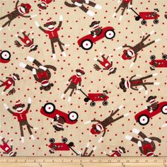 Minky Sock Monkey Cuddle Playtime Sand from @fabricdotcom  This Minky Cuddle fabric features Sock Monkeys and has an extremely soft 3 mm pile that's perfect for apparel, blankets, throws, pillows and stuffed animals. Colors include brown, red, black and white on a sand background.