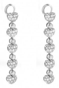 Chopard 18K White Gold Diamond Heart Drop Earrings