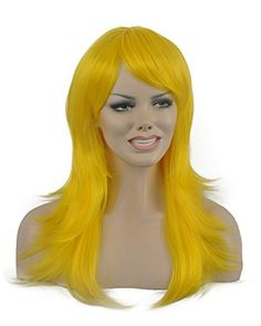 Diy-Wig New Fashion Yellow Long Big Wavy Oblique Bangs Sy…
