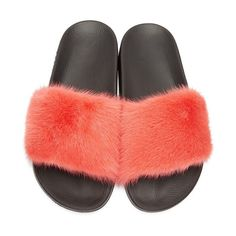 #Givenchy Is Making Fur #Slides Now. Givenchy has recently dropped two pairs of #mink slip-on #sandals just in time for summer. Coming in coral #pink and light grey the slide is constructed with a fuzzy fur upper as well as a black rubber role. Additionally Givenchys signature logo can be seen from the side of the sole.