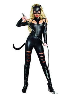 Dreamgirl Women's Sexy Catwoman Costume, Cat Fight  Halloween Galaxy