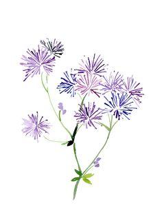 Handmade Watercolor Flowers in Purple- 8x10 Wall Art Watercolor Print, via Etsy.