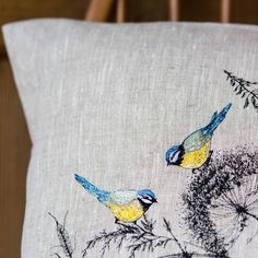 Embroidered 'Blue Tit' Cushion by Lara Sparks Embroidery, the perfect gift for Explore more unique gifts in our curated marketplace. Cushion Embroidery, Bird Embroidery, Free Motion Embroidery, Embroidered Cushions, Machine Embroidery Patterns, Embroidery Stitches, Applique Designs, Embroidery Designs, Cushion Cover Designs