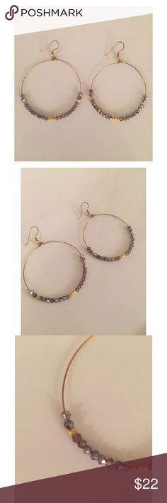 "Purple-y/gray & gold beaded hoop earrings Purple-y/gray & gold beaded hoop earrings. Measure 2.25"" long and are such a cute addition to any outfit! Great everyday earrings! Jewelry Earrings"