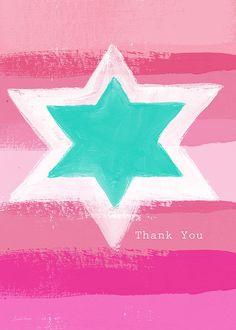 Bat Mitzvah Thank You Card Print By Linda Woods