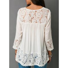 2018 Summer Women Sexy V-neck Shirt Casual Long Sleeve Top Ladies Fashion Solid Color Loose T-shirts Lace Chiffion Blouse Women Clothing Plus Size Tops Elisa Cavaletti, Cotton Blouses, White Blouses, Lace Blouses, Mode Outfits, Ladies Dress Design, Plus Size Tops, Pulls, Blouses For Women