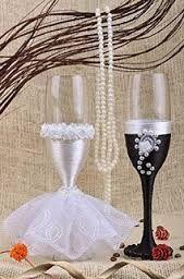 Resultado de imagen para copas de novios decoradas con cintas