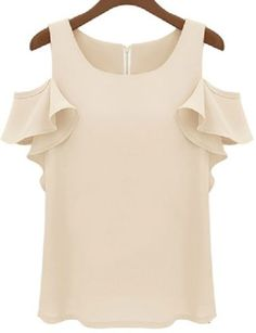 Nude Off the Shoulder Ruffle Chiffon Blouse pictures