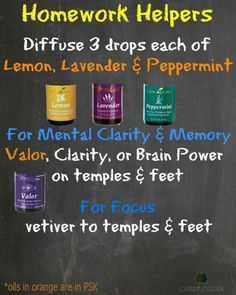 Back to school help with essential oils to help with homework. Focus with valor, brain power, clarity. Diffuse Lemon, Lavender, Peppermint.