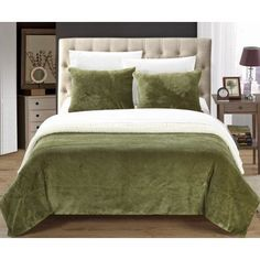 Chic Home Ernest 2-Piece Plush Micro suede Sherpa Blanket, Twin X-Long, Green, Pillow Shams Included