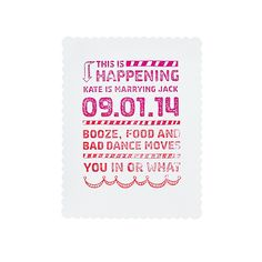"Pink Stamped Save-the-Date. A Hand-Stamped Save-the-Date CardWhat it says about you: ""We're laid-back, we love life, and we're throwing one kick-ass party.""This save-the-date flaunts DIY skillz (check out that ombr� ink effect!) and makes clear that you're more interested in showing everyone a good time than in foofy engraving or Emily Post's approval.Save-the-date stamp, $75, Patti Murphy DesignsSee more pink wedding invitations and stationery.Featured In: Pink Stamped Save-the-DatePhoto…"
