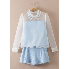 Sweet Organza Flat Collar Long Sleeve Blouse and Shorts Twinset For Women #CLICK! #clothing, #shoes, #jewelry, #women, #men, #hats