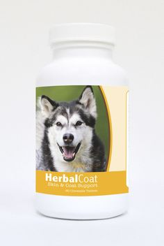 Natural Skin/Coat Support for Dogs 60 Count - Dry skin may be caused by many factors including seasonal weather changes. The natural ingredients in Healthy Breeds Herbal Coat help return a natural healthy glow to your dogs coat.