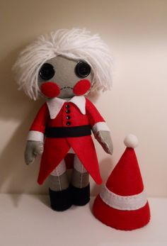 Felt cute goth red and grey Christmas elf plush by SouthernGothica