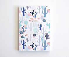 """Illustrated Notebook -  Succulents - 100 lined sheets - A5 14.8cmX21cm (5.8"""" X 8.3"""")"""