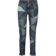 Étoile Isabel Marant Dillon patchwork mid-rise straight-leg jeans ($165) ❤ liked on Polyvore featuring jeans, pants, mid denim, patchwork jeans, mid-rise jeans, straight leg jeans, medium rise jeans and mid rise straight leg jeans