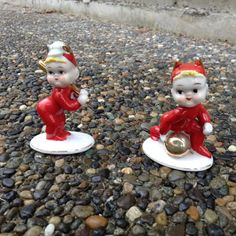 Pair of adorable vintage little devil figurines one is a baseball player and the other is a bowler. Both are a little over 3 tall .Stamp on bottom reads LAmour China, Hand painted Japan WW1432.
