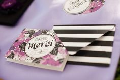 floral and stripes stationery //  event design by La Belle Fleur Events, photo by Ashley Biess Photography View more: http://www.ruffledblog.com/parisian-gothic-wedding-inspiration/