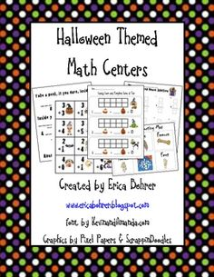 This 42 page download is for hands-on manipulative based Halloween themed math centers.Math centers included in this packet:Candy Corn and Pump...