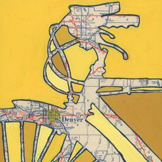 all rights reserved © Leslie DeRose 2010-2014  Title: Bike Denver Dimensions: 13x13 with 11x11 image Medium: archival print   Bike Denver is a print