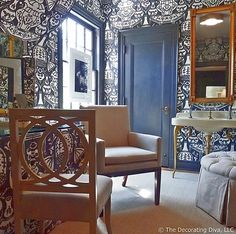 Dressing & Bath Room: Victorian Blue & White Color Scheme | The Decorating Diva, LLC