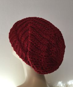 Crochet beanie, crochet hat, ladies' hats, women's hats, millinery, fashionable hats, Baggy Beanie, Mother's Day gifts, ladies hats