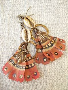 ☮ American Hippie Bohéme Boho Style ☮ Jewelry .. Feather Earrings