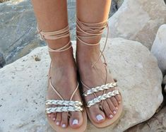 34512f5a55d96d Ancient Greek leather sandals for womens