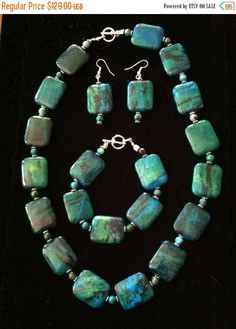SAVE EXTRA on CLEARANCE Chunky Turquoise Necklace, Bracelet & Free Earrings Set - pinned by pin4etsy.com