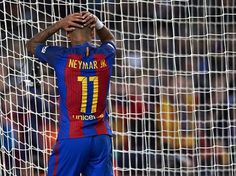 Neymar JR of Barcelona reacts as he fails to score during the La Liga match between FC Barcelona and Malaga CF at Camp Nou stadium on November 19, 2016 in Barcelona, Catalonia.