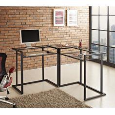 Black Metal and Glass Corner Computer Desk   Overstock.com Shopping - The Best Deals on Desks